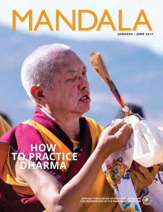 COVER: Lama Zopa Rinpoche during an Amitabha Buddha celebration at Buddha Amitabha Pure Land, Washington, US, October 2016. Photo by Chris Major.