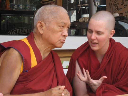 Lama Zopa Rinpoche and Ven. Lozang Yönten, Russia, 2015. Photo by Ven. Tenzin Chodron.