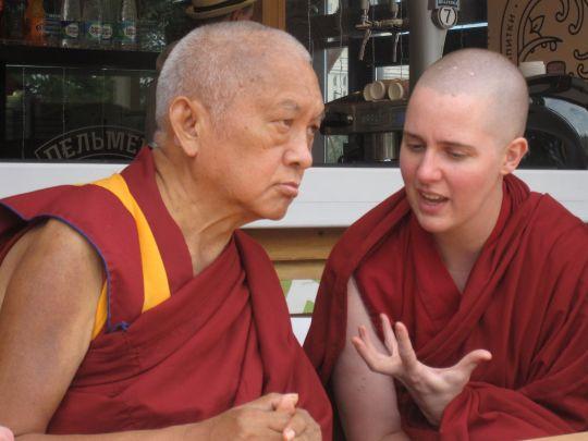 Lama Zopa Rinpoche and Ven. Lozang Yönten, Russia, 2015. Photo by Ven. Tenzin Chodron.