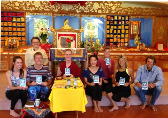 Ven. Lozang Yönten with the students of Mahamudra Centre, Colville, Coromandel, New Zealand, 2015. Photo by Sarah Brooks.