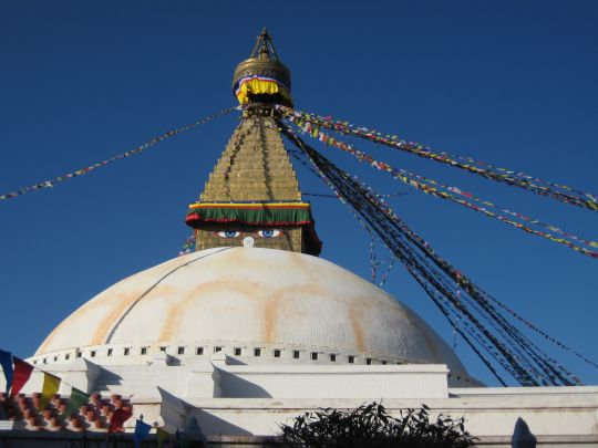 The Bouddhanath Stupa pilgrimage site near Kopan Monastery, Kathmandu, Nepal, 2008. Photo by Mark Kacik.