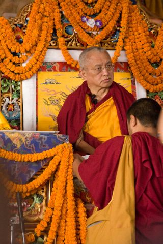Lama Zopa Rinpoche teaching at the 2008 November Kopan course, 2008. Photo by Artis Rams.