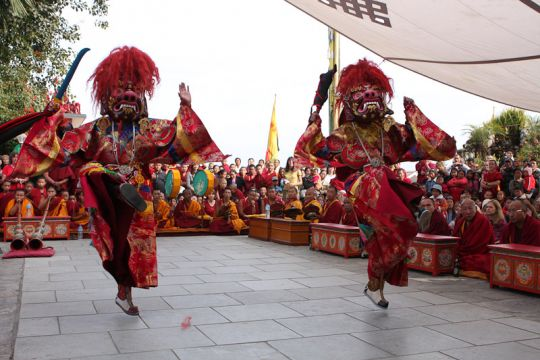 Ceremonial dances at Kopan Monastery, 2008. Photo by Artis Ram.