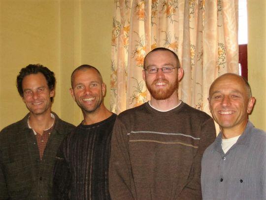 Left to right: Roommates John, Thinj, Drew, and Mark Kacik, Kopan Monastery, 2008. Photo courtesy of Mark Kacik.