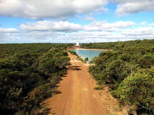 De-Tong Ling's stupa and dam surrounded by pristine Australian bush, Kangaroo Island, Australia. Photo by Will Abram.