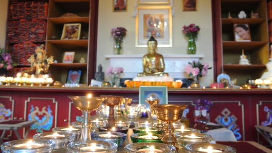 Altar from Land of Joy's first annual Dharma festival, June 2016. Photo courtesy of Land of Joy.