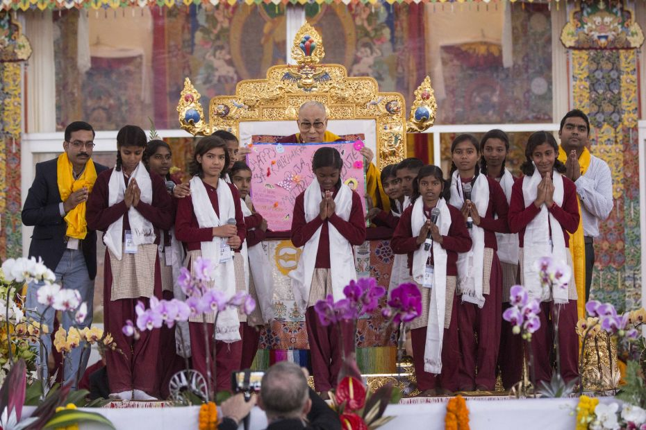 Maitreya school children with HHDL