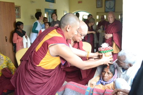 Lama Zopa Rinpoche Blesses A Patient