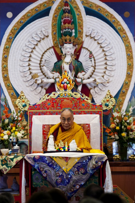 His Holiness the Dalai Lama at Chenrezig Institute, Eudlo, Queensland, Australia, June 2011. Photo by Bonnie Jenkins.