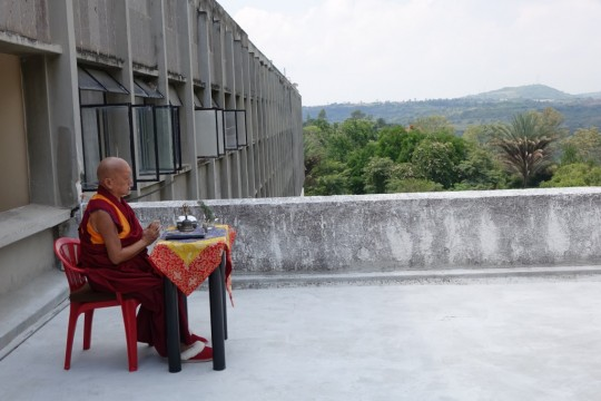 Lama Zopa Rinpoche doing an incense puja for those who are sick on his first day in Mexico, where Rinpoche was leading retreat, September 6, 2015. Photo by Ven. Roger Kunsang