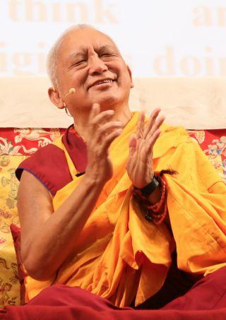 Lama Zopa Rinpoche at LOP 2014, Blue Ridge Assembly, NC, May 2014. Photo by Ven. Thubten Kunsang.