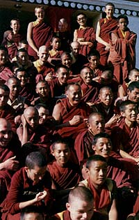 Lama with Sangha on the steps of Kopan Monastery
