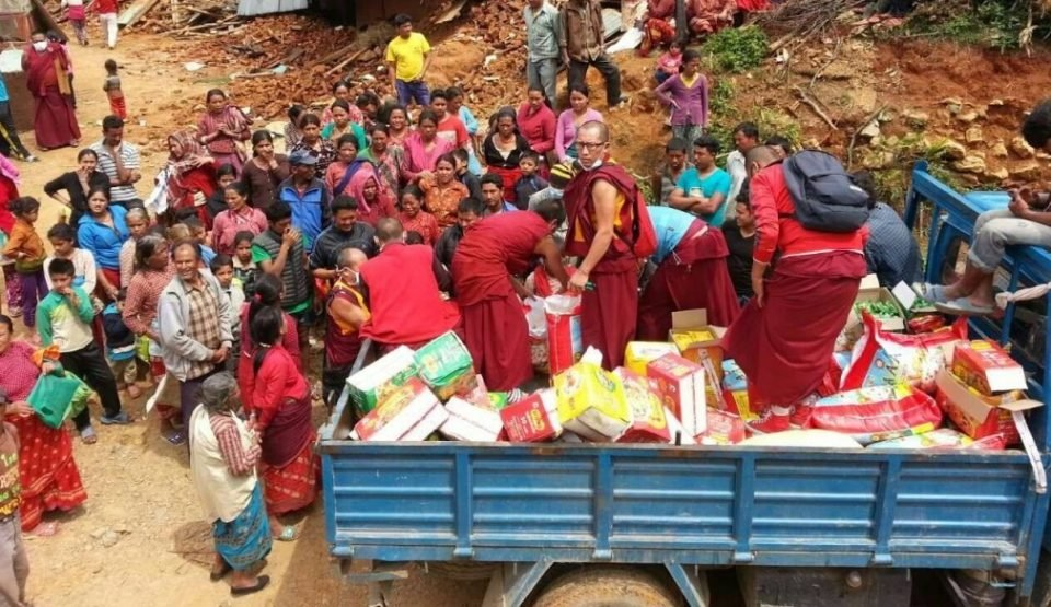 Aid being provided by Sangha from Kopan Monastery just after the Nepal Earthquake in 2015.