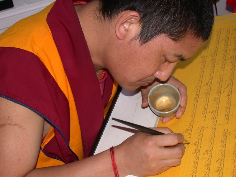 Ven. Tsering, a Kopan monk, spends eight hours every day writing out the Prajnaparamita Sutra in pure gold on archival quality paper.