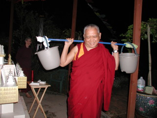 Lama Zopa Rinpoche liberating 400 worms at Kachoe Dechen Ling, CA.