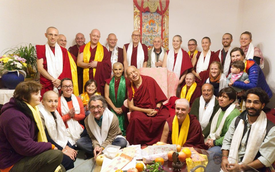 Lama Zopa Rinpoche with about two dozen students from Basic Program and Master Program in Italy.