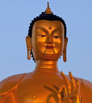 A scale replica of the Maitreya Buddha statue to be built at Kushinagar, India, Photo by Andy Melnic.