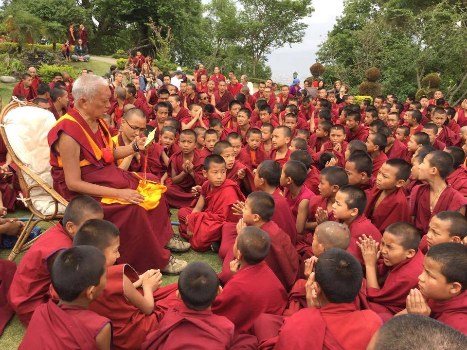Lama Zopa Rinpoche offering an oral transmission to Sangha and others at Kopan Monastery shortly after the Nepal Earthquake of 2015.