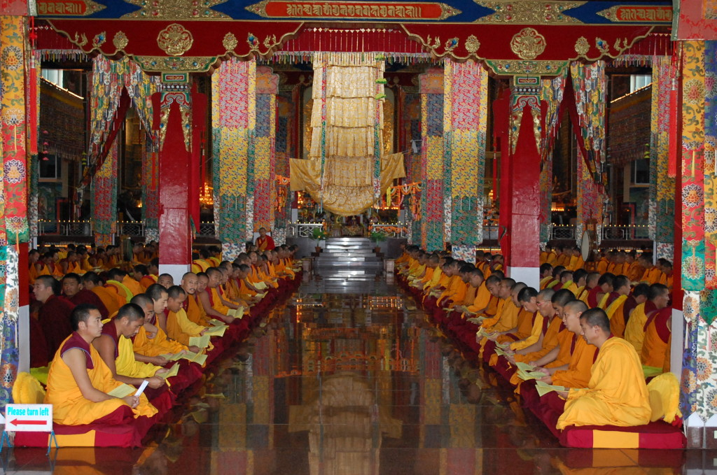 Monks of Sera Mey Monastery offering Medicine Buddha puja sponsored by FPMT Puja Fund.