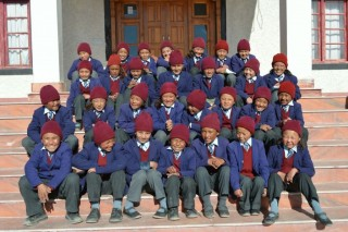School children from Ladakh. The Social Services Fund offers meals to these children.