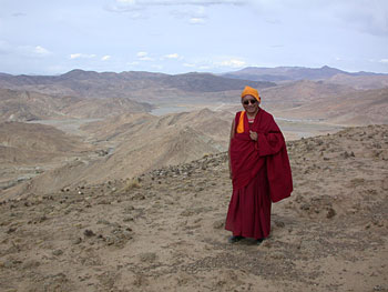 Lama Zopa Rinpoche, Tibet, June 2002. Photo by Ven. Roger Kunsang.