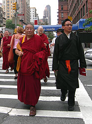 Sangha wearing robes in the streets of New York City