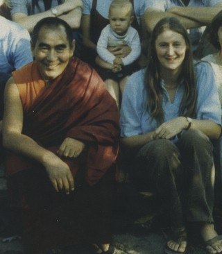 Geshe Sopa with Kalleen Mortensen, 1977. Photo courtesy of Kalleen Mortensen.