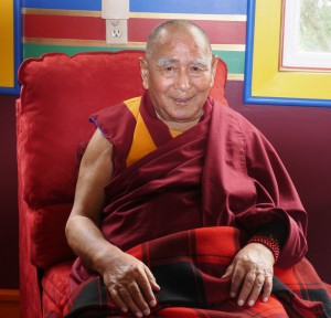 Geshe Sopa at Lama Zopa Rinpoche's house in Aptos, California, 2009. Photo by Kalleen Mortensen.