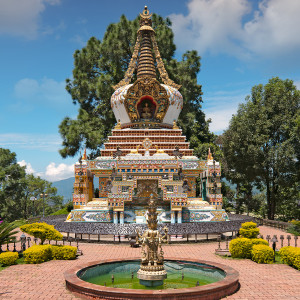 Geshe Lama Konchog stupa at Kopan Monastery, Kopan, Nepal. Photo from Dreamstime.