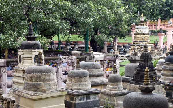 Stupas at Mahabodhi Temple, Bodhgaya, India. Photo from Dreamstime.