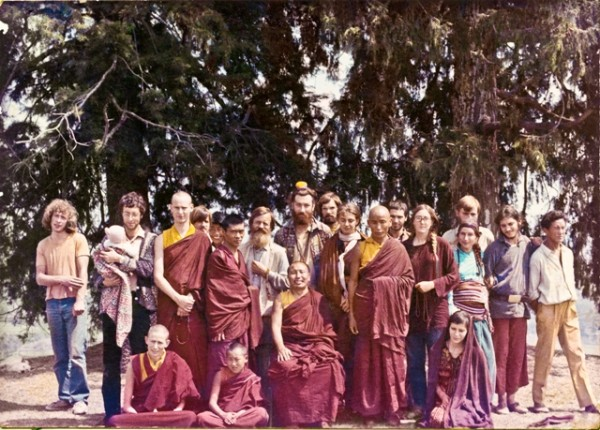 Massimo Corona (second from far left, standing with baby) at the Second Kopan Course, 1972. Photo courtesy of Lama Yeshe Wisdom Archive.