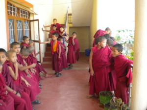Young monks wait in line to be seen by Tashi Lhunpo Health Care Centre staff. Photo courtesy of Tashi Lhunpo Monastery.