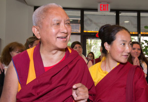 Lama Zopa Rinpoche and Khadro-la, International Office, Portland, Oregon, USA, June 2012. Photo by Marc Sakamoto.