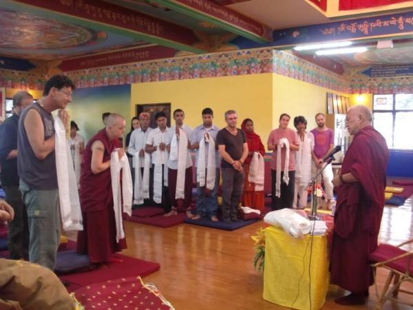 Lama Zopa Rinpoche thanks Tushita Meditation Centre staff and volunteers, May 25, 2013. Photo courtesy of Tushita Meditation Centre via Facebook.