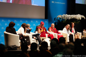 His Holiness the Dalai Lama with panel, Université de Lausanne, Switzerland, April 2013. Photo by Jon Schmidt.