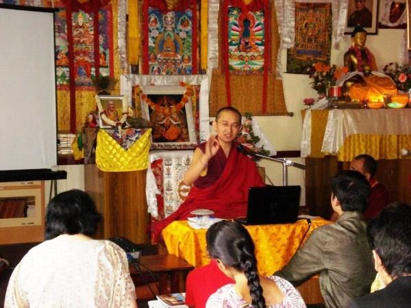 Khangser Rinpoche teaches at Choe Khor Sum Ling, Bangalore, India, April 2013. Photo by Anupama Saraf.
