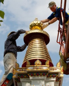Finishing stupa pinnacle Kadampa Center May 2013