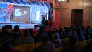 Guest speakers from Mongolian Association Against Alcoholism and Drug Abuse use video presentations to address alcohol addiction, 2013. Photo courtesy of Ani Thubten Gyalmo.