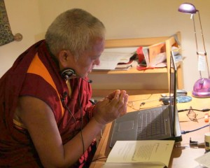 Lama Zopa Rinpochve give bodhisattva vows to Bob Brintz over Skype, September 2012.
