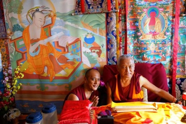 Lama Zopa Rinpoche with Geshe Deyang, resident geshe of Chokyi Gyaltsen Centre, Kopan, Nepal, May 2013. Photo by Ven. Roger Kunsang.
