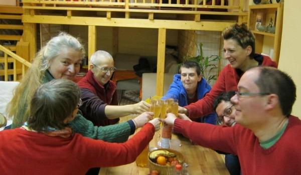 Celebrating ecologically at Tara Night at Panchen Losang Chogyen Gelugzentrum, Vienna, Austria, December 31, 2012. Photo courtesy of Panchen Losang Chogyen Gelugzentrum's Facebook page.