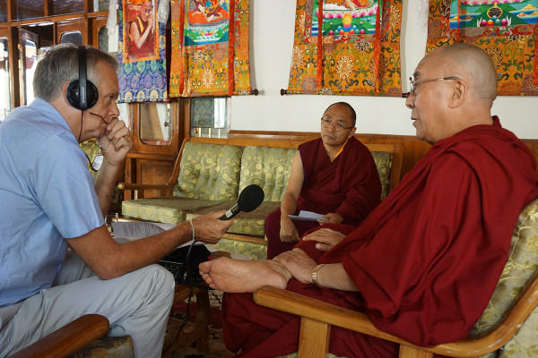His Holiness the Dalai Lama being interviewed by Anthony Denselow, Leh, Ladakh, India, August 2012. Photo by Jeremy Russell.