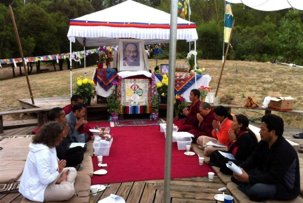 Local-area Tibetans did incense puja plus other auspicious prayers at Land of Medicine Buddha, Soquel, California, U.S., July 2013. Photo Amanda Russell.