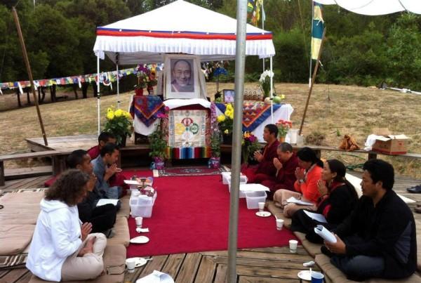 Local-area Tibetans did incense puja plus other auspicious prayers at Land of Medicine Buddha, Soquel, California, U.S., July 2013. Photo Amanda Russell.