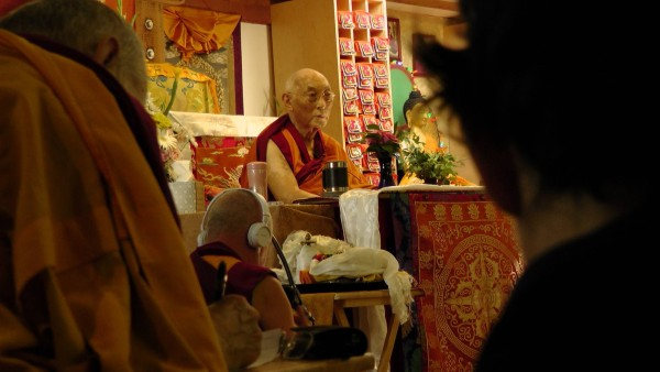 Choden Rinpoche lead a retreat on retreat on the Eight Verses of Thought Transformation at Vajrapani Institute, Boulder Creek, California, U.S., July 2013. Photo courtesy of Vajrapani Institute.