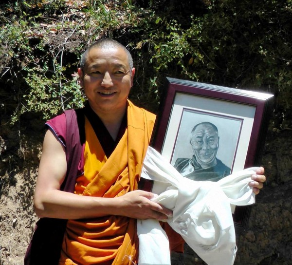 Choden Rinpoche was presented this drawing of His Holiness the Dalai Lama by Cody Mattson, a very Vajrapani Institute staff memember, Boulder Creek, California, U.S., July 2013. Photo courtesy of Vajrapani Institute.