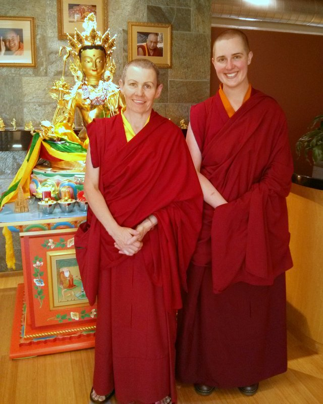 Vens. Tenzin Choden and Losang Yonten at FPMT International Office, July 23, 2013