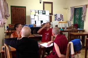 Lotsawa Rinchen Zangpo Translator Programme 6 students review in classroom, Dharamsala, India, June 2013. Photo courtesy of Drolkar McCallum.