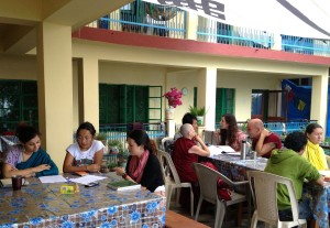 Lotsawa Rinchen Zangpo Translator Programme 6 students review with Tibetan conversation partners, Dharamsala, India, June 2013. Photo courtesy of Drolkar McCallum.