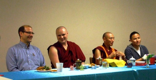 From left to right: Dave Gould, Ven. Khendrup, Geshe Sonam Ngodrup, and Gomo Tulku attend the Compassion Day 2013 celebration at Lama Yeshe Ling Centre, Oakville, Canada, July 2013. Photo courtesy of Lama Yeshe Ling Centre.